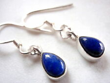 Small Blue Lapis Lazuli Teardrop 925 Sterling Silver Dangle Drop Earrings