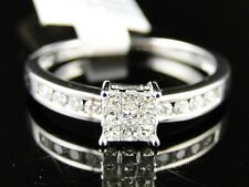 14K White Gold Ladies Womens Engagement Princess Diamond Wedding Band Ring .25Ct