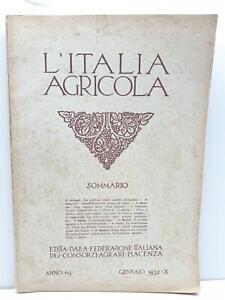 L'Italia agricola gennaio 1932 Federazione italiana consorzi agrari Piacenza