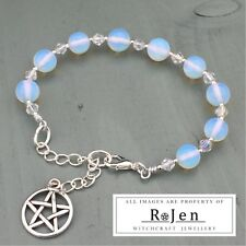 "Silver plated Opalite & Acrylic Beaded 7"" to 9"" Bracelet & Pentagram Charm Wicca"