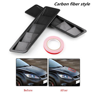 Carbon fiber Car Air Flow Intake Hood Scoop Vent Louver Panel Bonnet Cover Decor