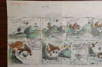 """Disney Studios Original Comic Strip Drawing of """"SCAMP"""" 7/16/78 by Bill Berg"""