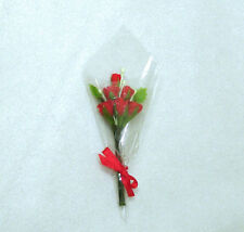 Valentines Day Red Roses Bouquet Dollhouse Miniatures for 1:12 Scale Florist