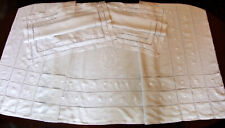 Parure de lit en Fil de lin broderies & retours - Drap 2m43 X 3m25 + 2 Taies