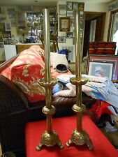 Magnificent Pair BRASS Vintage Ornate GOTHIC Cathedral Church CANDLE HOLDERS-28""