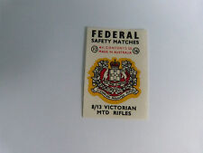 FEDERAL SAFETY MATCH BOX LABEL - 8/13 VICTORIAN MTD RIFLES