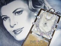 VINTAGE Art Deco Mother of Pearl Lucite Diamond Rhinestone Crystal NECKLACE