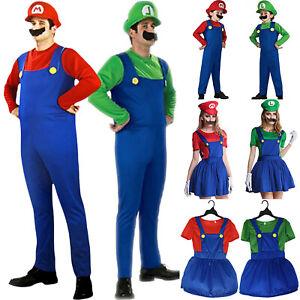 Women Men Kids Super Mario Luigi Bros Plumber Fancy Dress Party Cosplay Costume