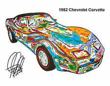 1982 Chevrolet Corvette Chevy Car Racing Print Poster Wall Art  8.5x11