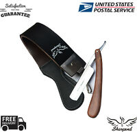 LEATHER SHARPENING STROP/BELT/STRAP BARBER SALON STRAIGHT CUT THROAT RAZOR BLADE