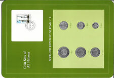 Coin Sets of All Nations Romania 1966 - 1982 UNC Dock Crane Stamp w/card