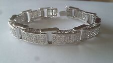 Silver Tone Micropave bracelet simulated diamond hundreds of stones NEW