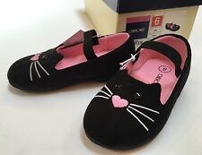 NIB Cherokee Jade Sz 6 Black Cat Face Toddler Faux Suede Flats w/ Elastic Strap