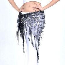 Belly Dance Triangle Skirt Bead Sequin Fringe Tassel Mesh Hip Scarf Belt Wrap US