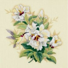 """Dimensions Crewel Embroidery Kit Hibiscus Floral 12"""" X 12"""" New"""