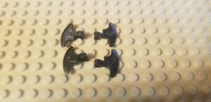 Lego Axe Head Weapon Black Speckled Silver Lot of 4 - Castle Vikings Back Clip