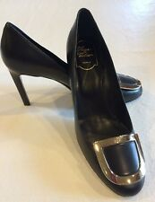 NEW - ROGER VIVIER DECOLLETE ECUSSON BLACK LEATHER PUMP - SIZE 39