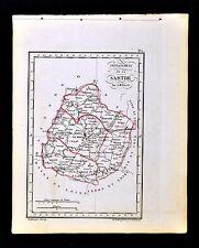 1841 Perrot France Map Departement - Sarthe - Le Mans S. Calais La Fleche Chatre