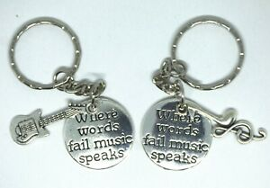 Where Words Fail Music Speaks Keyring Bag charm Gift Guitar Musical Note Quote