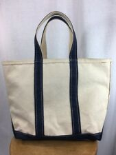 LL Bean Boat And Tote Heavy Duty Canvas Bag White Blue Medium Sized Zippered Top