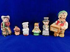 6 Vintage Unmatched Salt & Pepper Shakers Bridegroom Organ Grinder Cowboy Squaw+