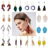 Fashion Elegant Feather Tassel Drop Dangle Earrings Women Charm Jewelry Gift Hot