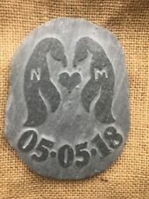 Handcarved Penguin stone LOVE pebble Personalised bespoke wedding plus date