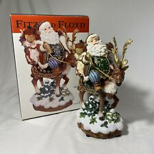 """Fitz and Floyd jolly ole st nick musical Santa On Reindeer 9"""" Centerpiece In Box"""