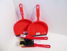 2 St. Kehrgarnitur mit Handfeger rot/schwarz und Kehrblech Gummilippe rot