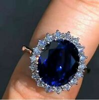 3.60Ct Oval Cut Blue Sapphire Diamond Halo Engagement Ring 14K White Gold Finish