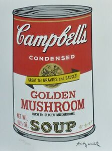 ANDY WARHOL CAMPBELL'S SOUP II GOLDEN MUSHROOM SIGNED + HAND NUMBERED LITHOGRAPH
