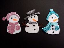 3 glitter felt snowmen Christmas die cuts. Embellishments, Card Topper bunting