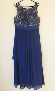 Ever Pretty Blue Formal Maxi Dress Laced Round Neck Size 14 Evening Prom