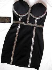 BEBE BLACK BEADED BUSTIER PONTE DRESS NWT NEW $169 XSMALL XS