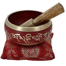 "Singing Bowl Meditation 4"" Metal Zen Tibetan Buddhist W Stick & Pillow Root Red"