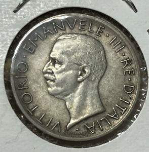 1927 Italy 5 Lira Silver World Coin Great Condition High Value