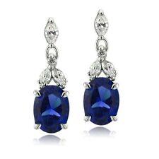 Lab-Created Sapphire Drop/Dangle Fine Earrings