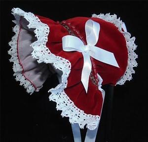 New Handmade Dark Red Velvet with White Lace Christmas Baby Bonnet