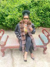 New Designer Black Leather & Barguzin Russian sable Fur Coat jacket S-10 $20,000
