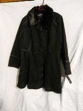 Apt 9 Black Pea Coat Size 2X Wool Blend Peacoat Walker Faux Fur Womens