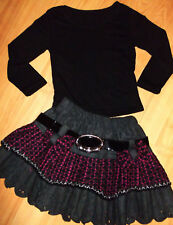GIRLS BLACK TOP & GREY CERISE CHECK PATTERN BOW TRIM RUFFLE PARTY SKIRT age 3-4