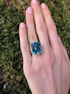 23.43 Carat Blue Aquamarine Emerald Cut Gemstone 925 Real Silver Solitaire Ring