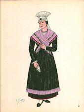 Gravure d'Emile Gallois costume des provinces françaises 1950  Poitou