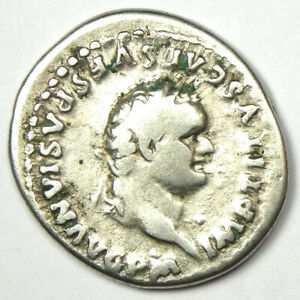 Roman Titus AR Denarius Silver Coin 79-81 AD - Fine / VF Condition