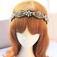 KM_ JI_ HK- Pretty Graceful Women Rhinestone Beads Headband Elastic Hairband H