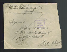 1941 Geneifa Egypt Fayed Italy Internment Camp Stampless Cover to Port Said