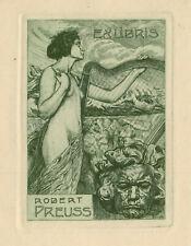 Ex libris Art Nouveau-Jugendstil Exlibris by BAYER JACOB (1874-1929) Germany