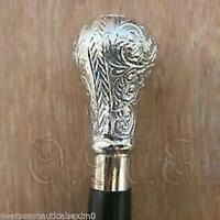 Vintage Antique Walking Cane Stick Sterling Sliver Handle Brass Knob with stick