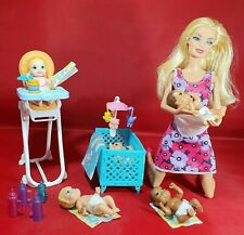 Barbie Baby Sister Brother High Chair Cot Family Doll Bundle