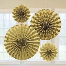 Amscan International – 295000 – 19 oro ventiladores de papel con purpurina
